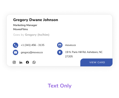 Choose from multiple email signature templates, text only