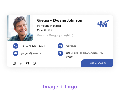 Choose from multiple email signature templates, logo and picture