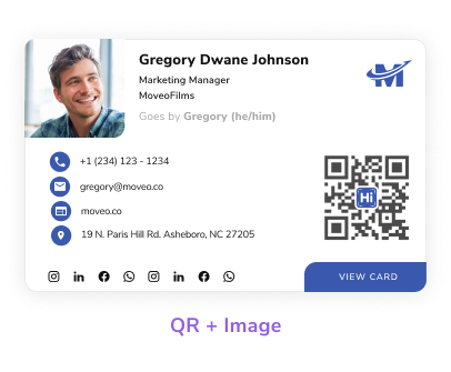 Choose from multiple email signature templates: picture, logo, and QR code