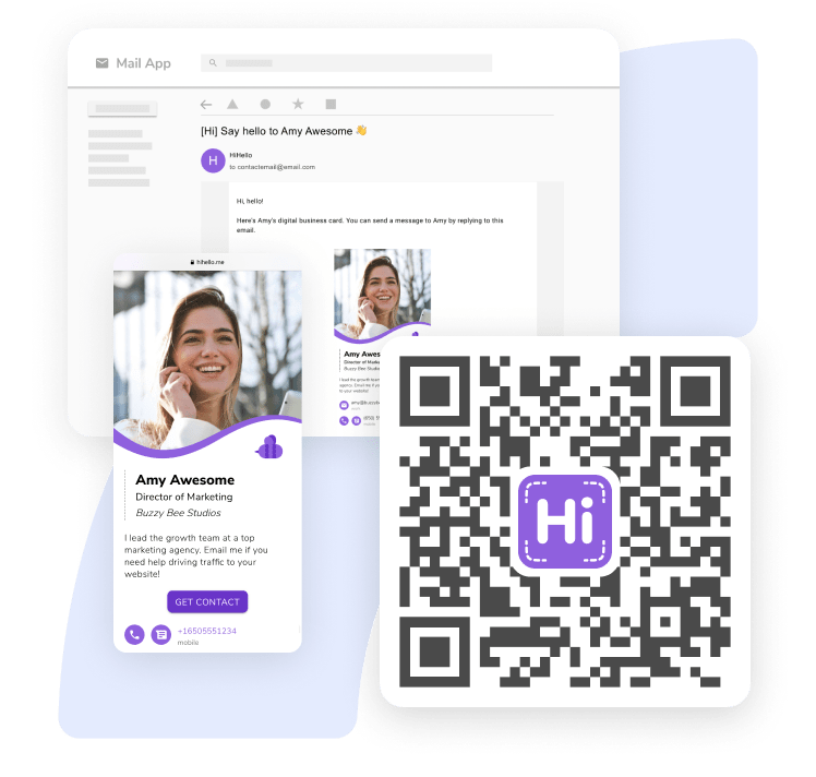 Examples of a HiHello digital business card, a QR code, and a follow-up email for when you share your virtual card.