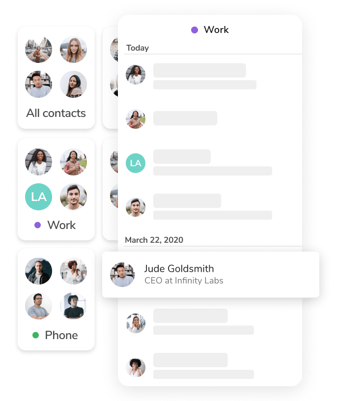 The HiHello mobile app address book and contact manager.