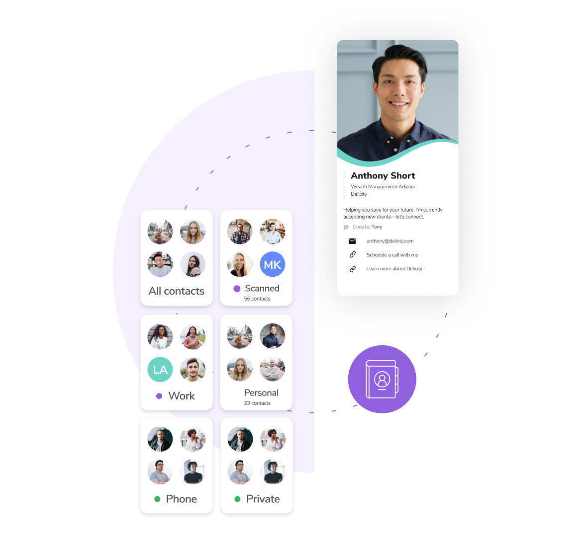 HiHello self-healing address book and contact manager