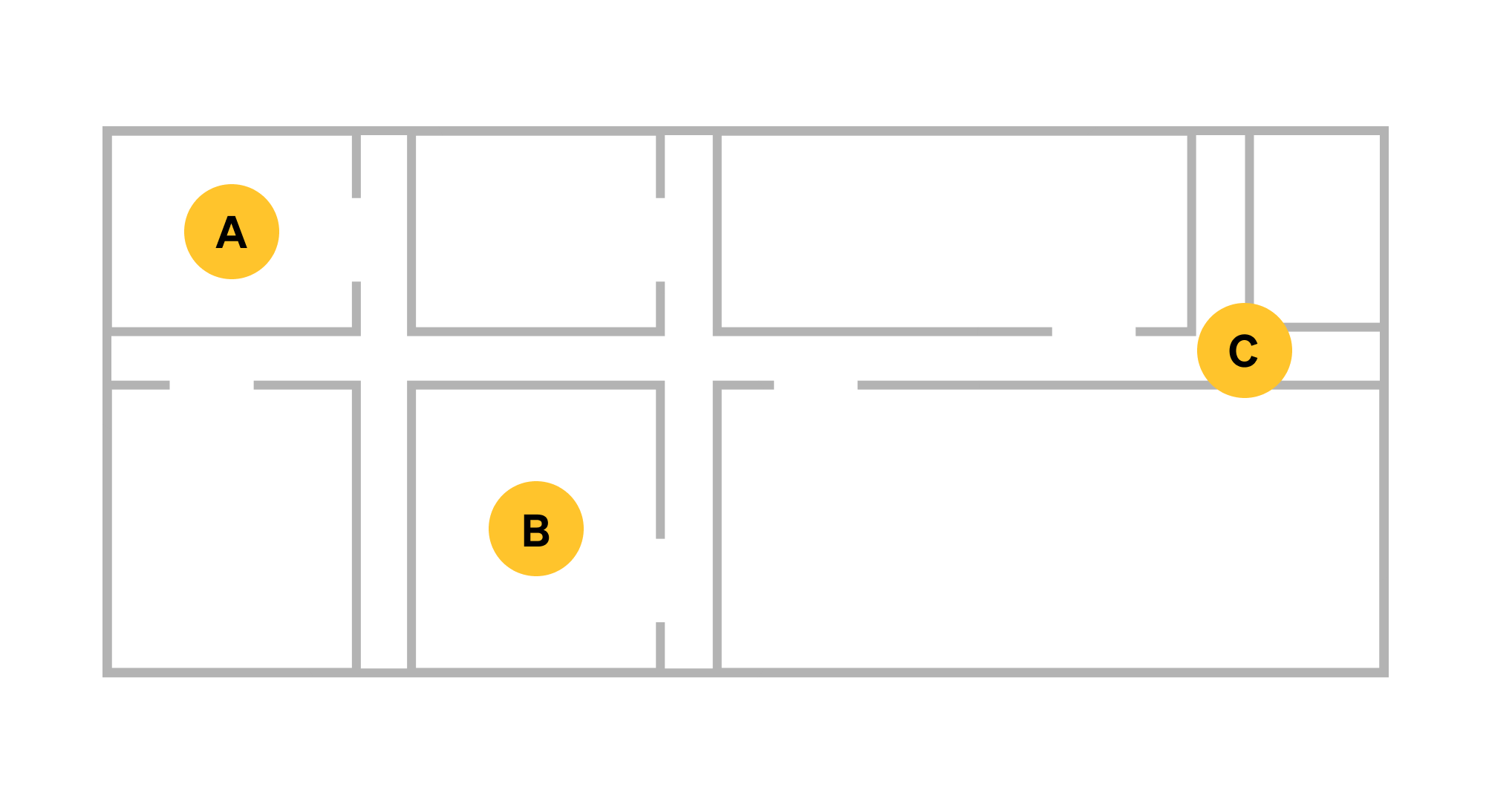 Spotto bluetooth beacon reader placement on a building floor plan.