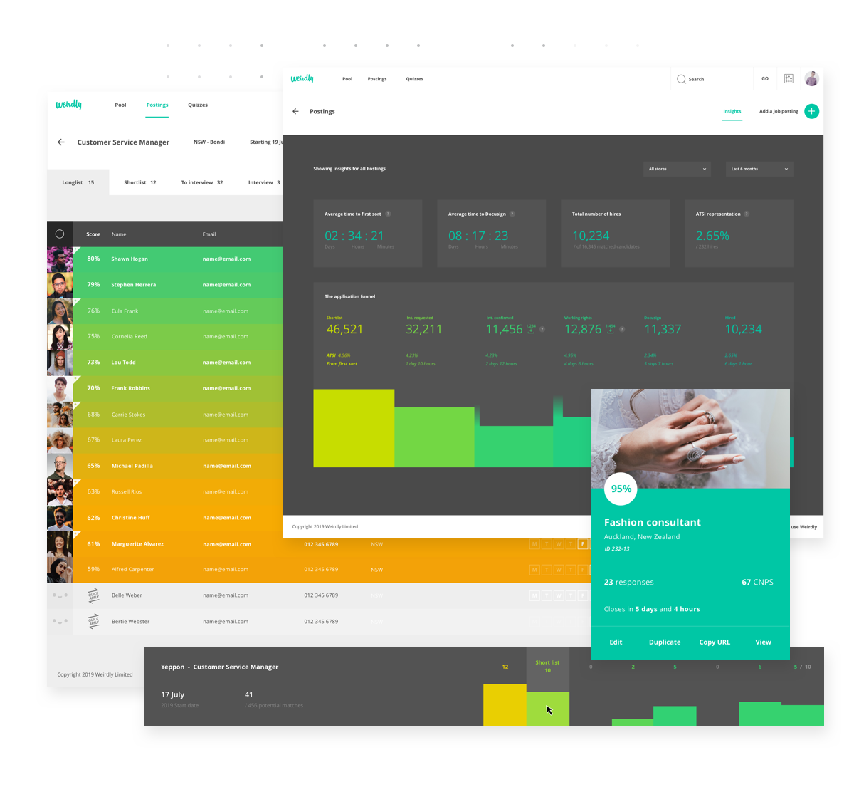 Weirdly interface mockups