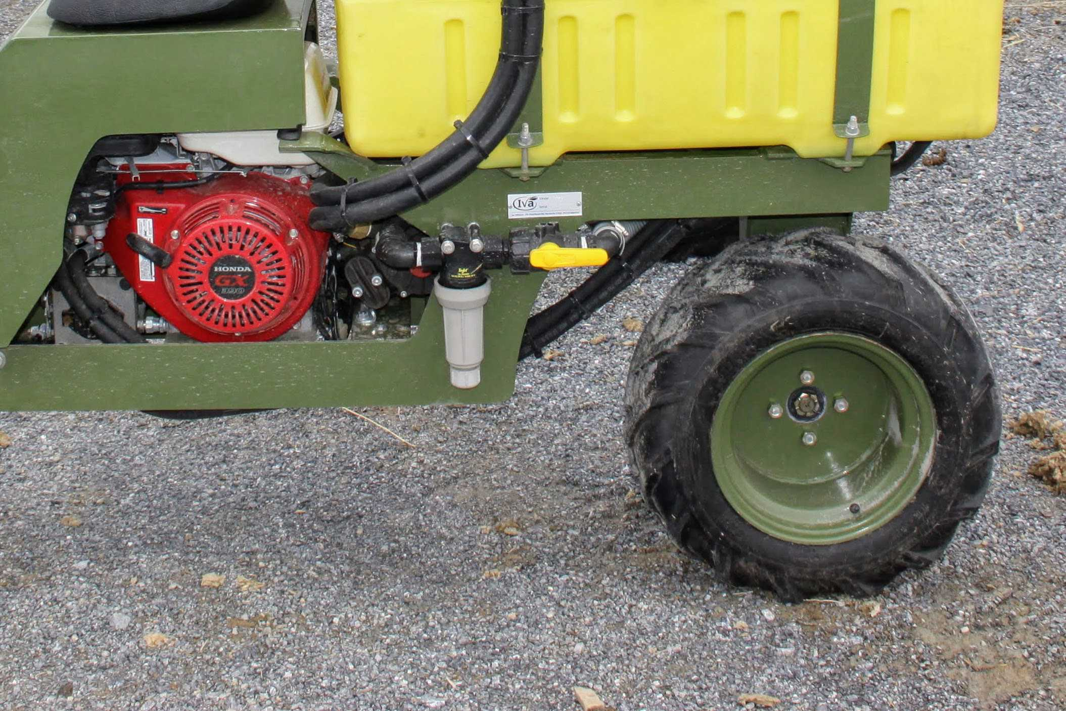 strainer on SP50 hemp sprayer from Iva Mfg