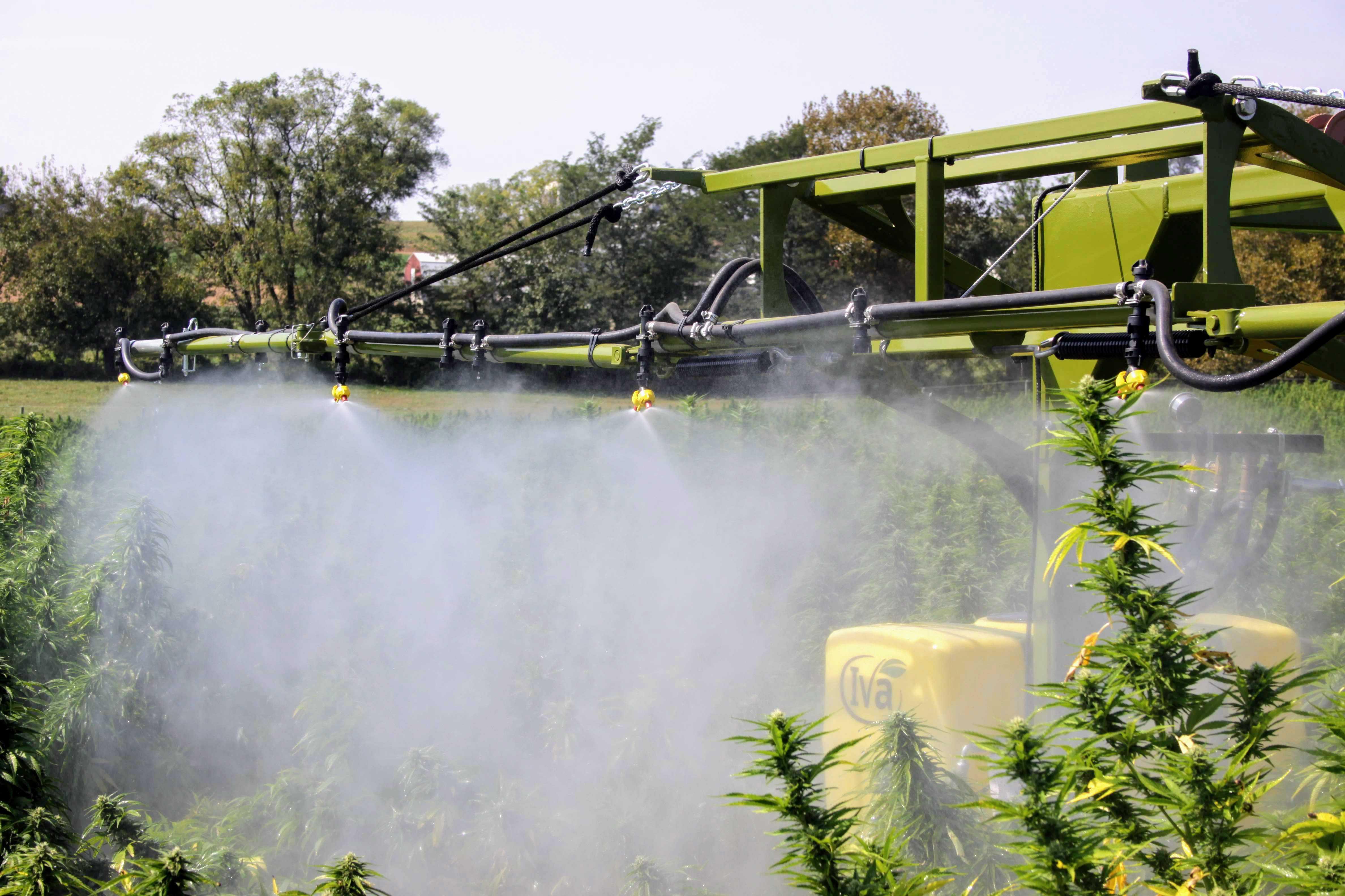 Angled nozzles on industrial hemp sprayer