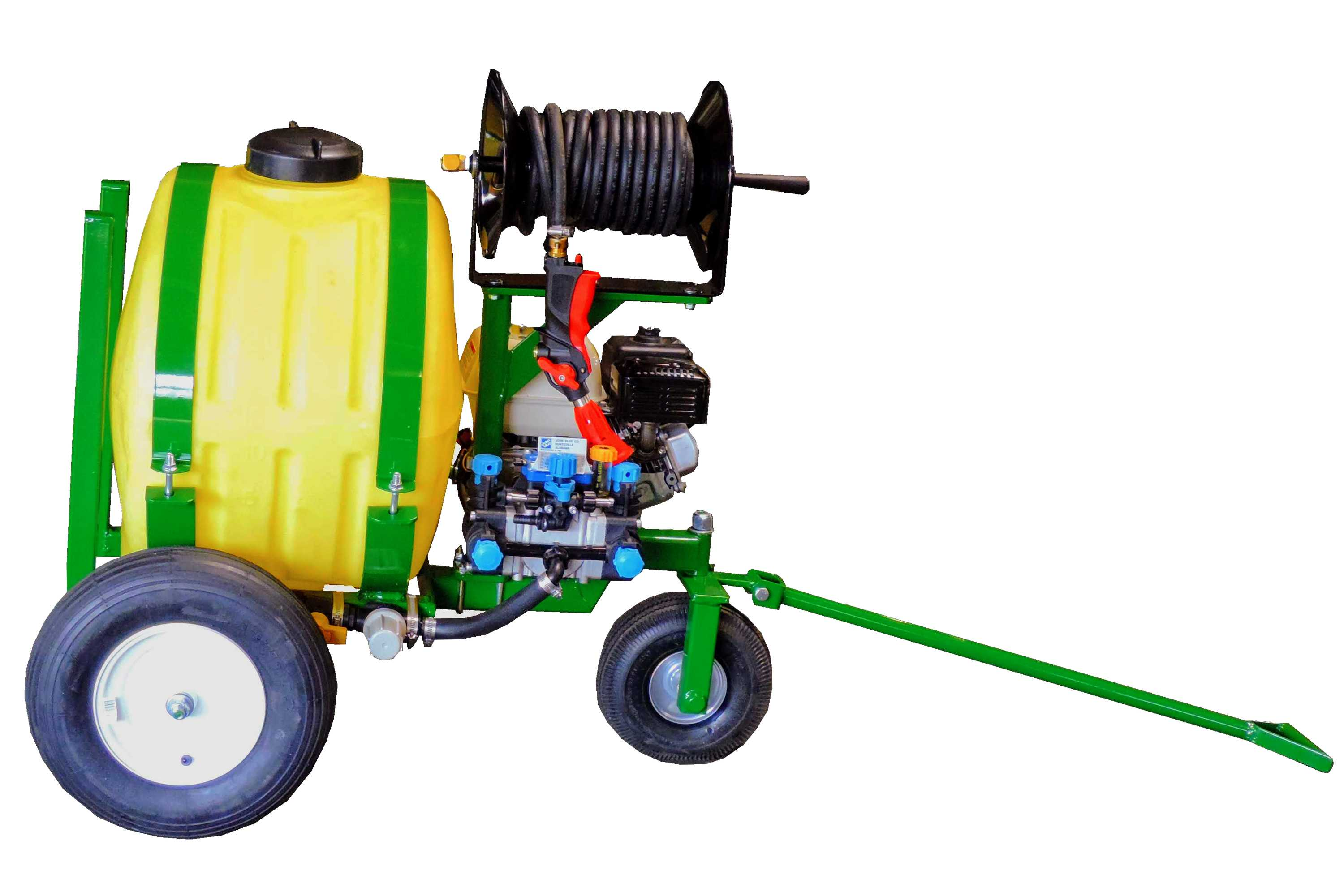 Orchard sprayer with 25 gallon tank and hose reel