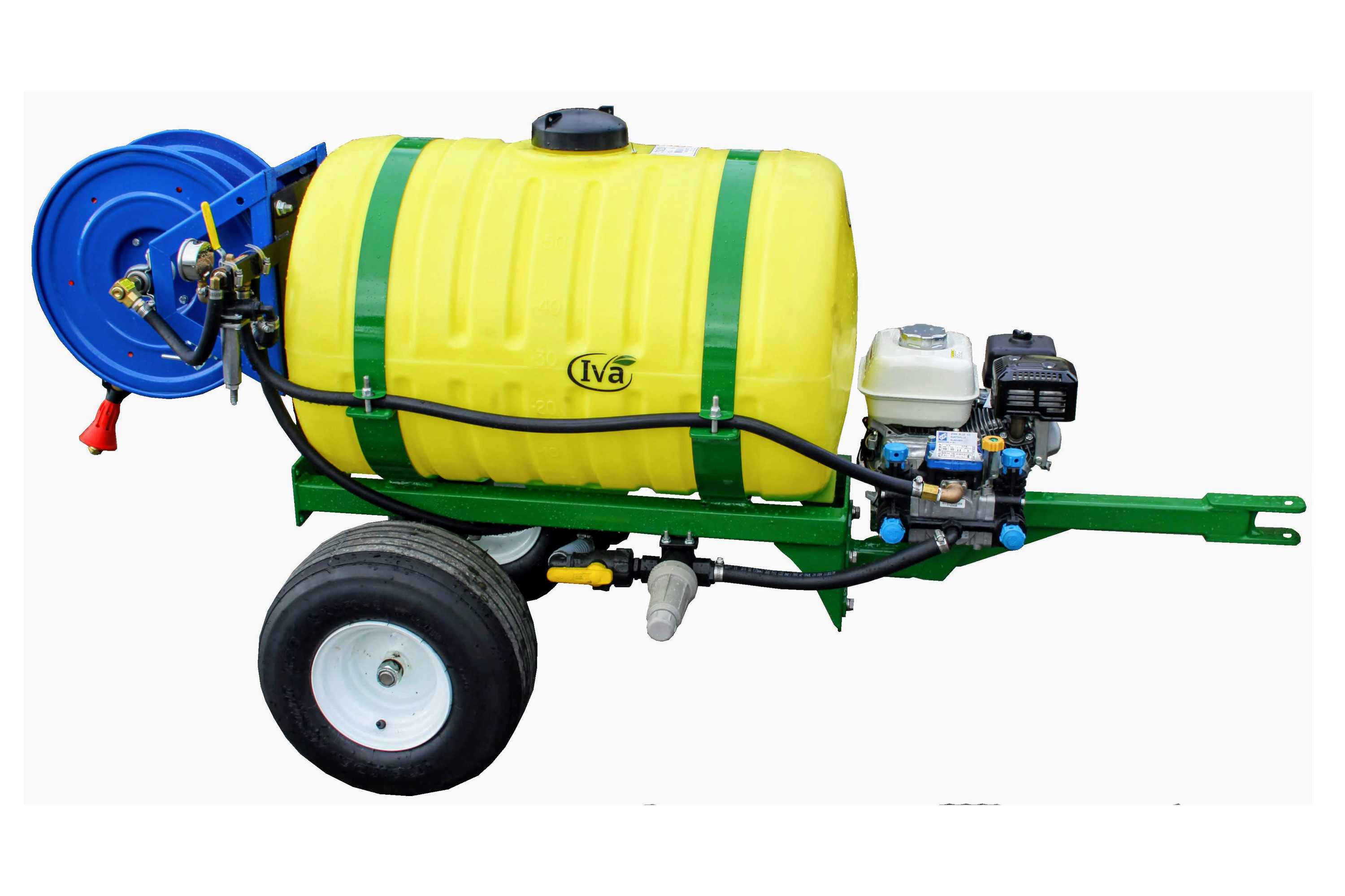 Orchard sprayer with 55 gallon tank and hose reel