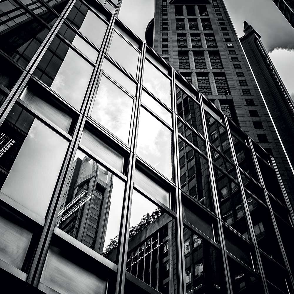 Looking up at a city skyline