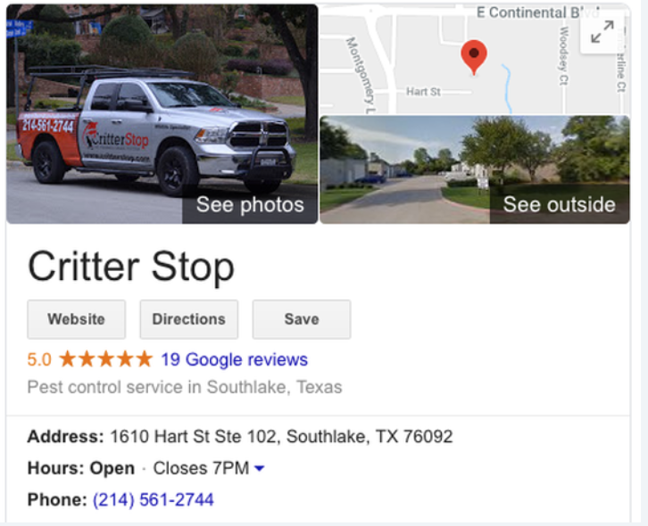 Critter Stop has a 5-star rating on Google.