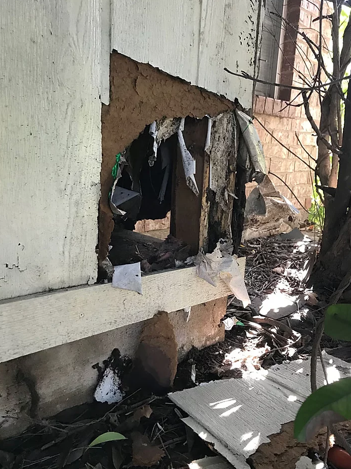 Damage to the exterior of a home caused by an opossum infestation.