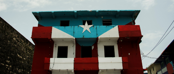 A building with the flag of Puerto Rico painted on its facade