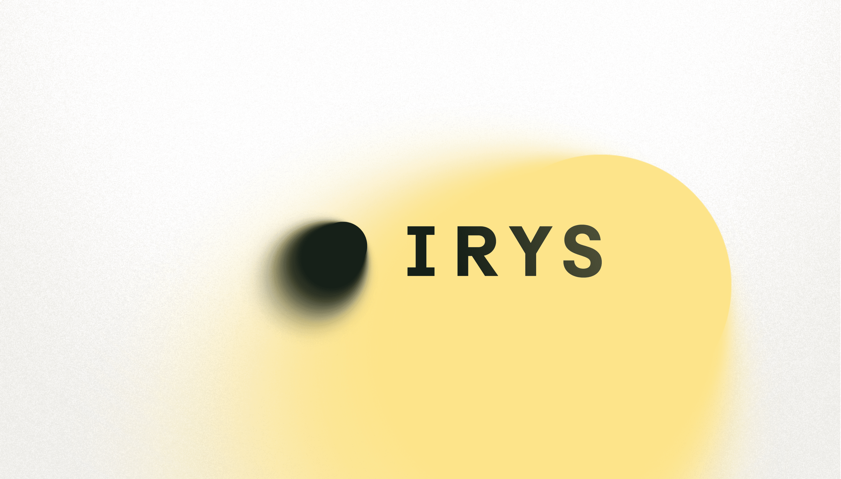 Irys black logo with a fade yellow background
