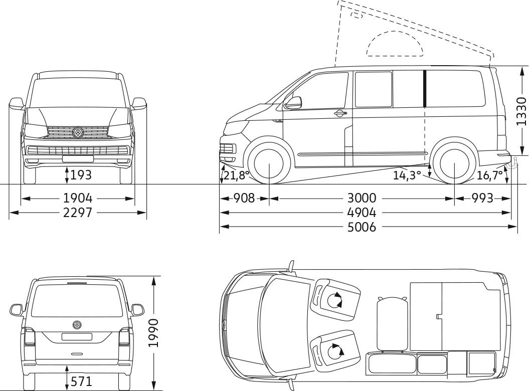 Technische Daten VW T6 California Ocean