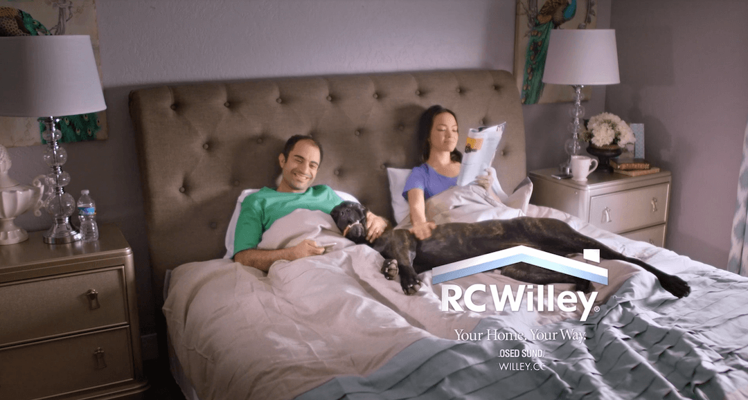 This RC Willy features a couple struggling to get comfortable with their mattress, before the couple and their dog are shown relaxing on their new, comfortable RC Willy mattress.