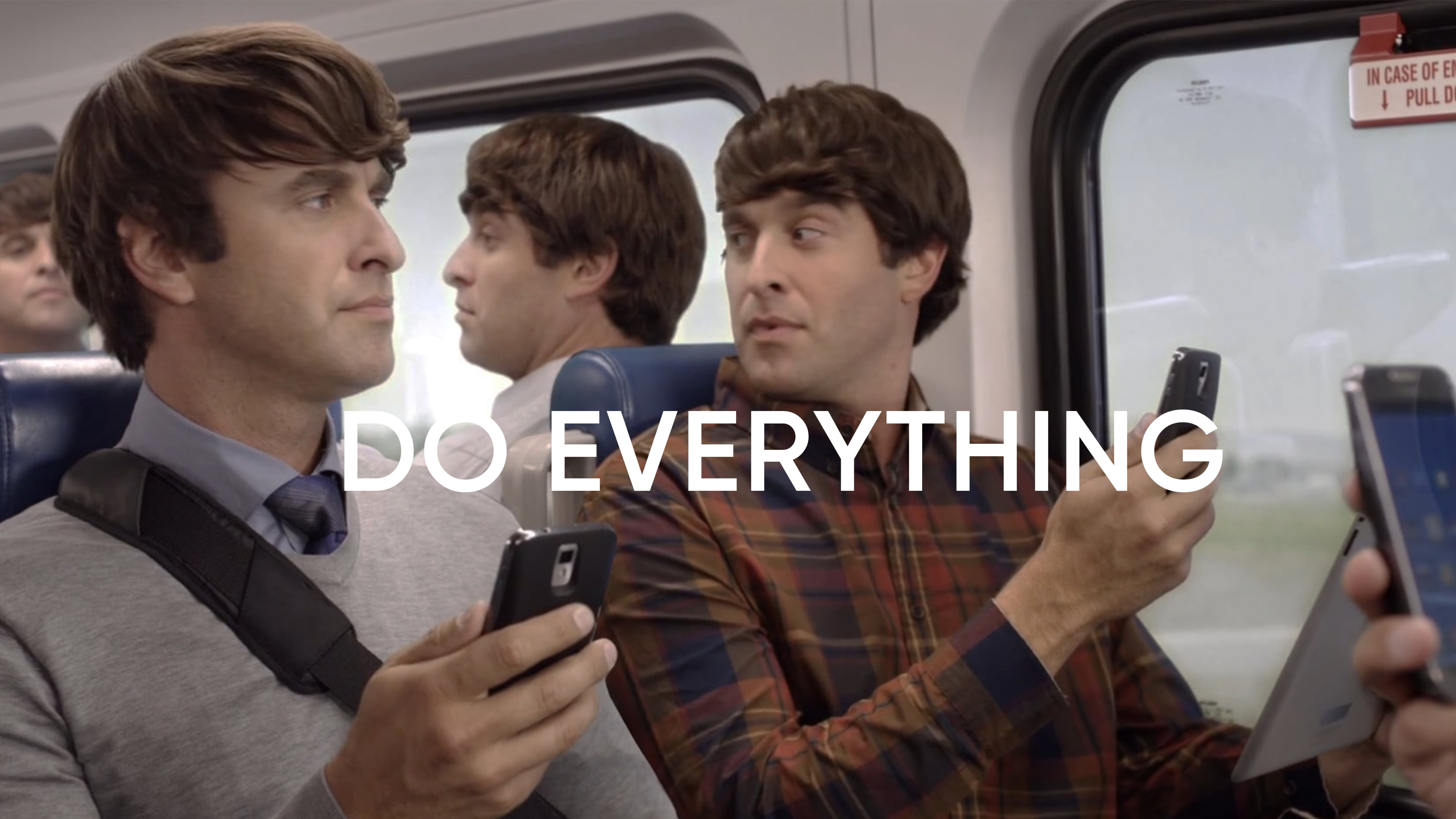 """This UTA commercial """"Do Everything"""" features a man getting on a UTA train to find clones of himself in each seat, all dressed differently and doing different activities."""