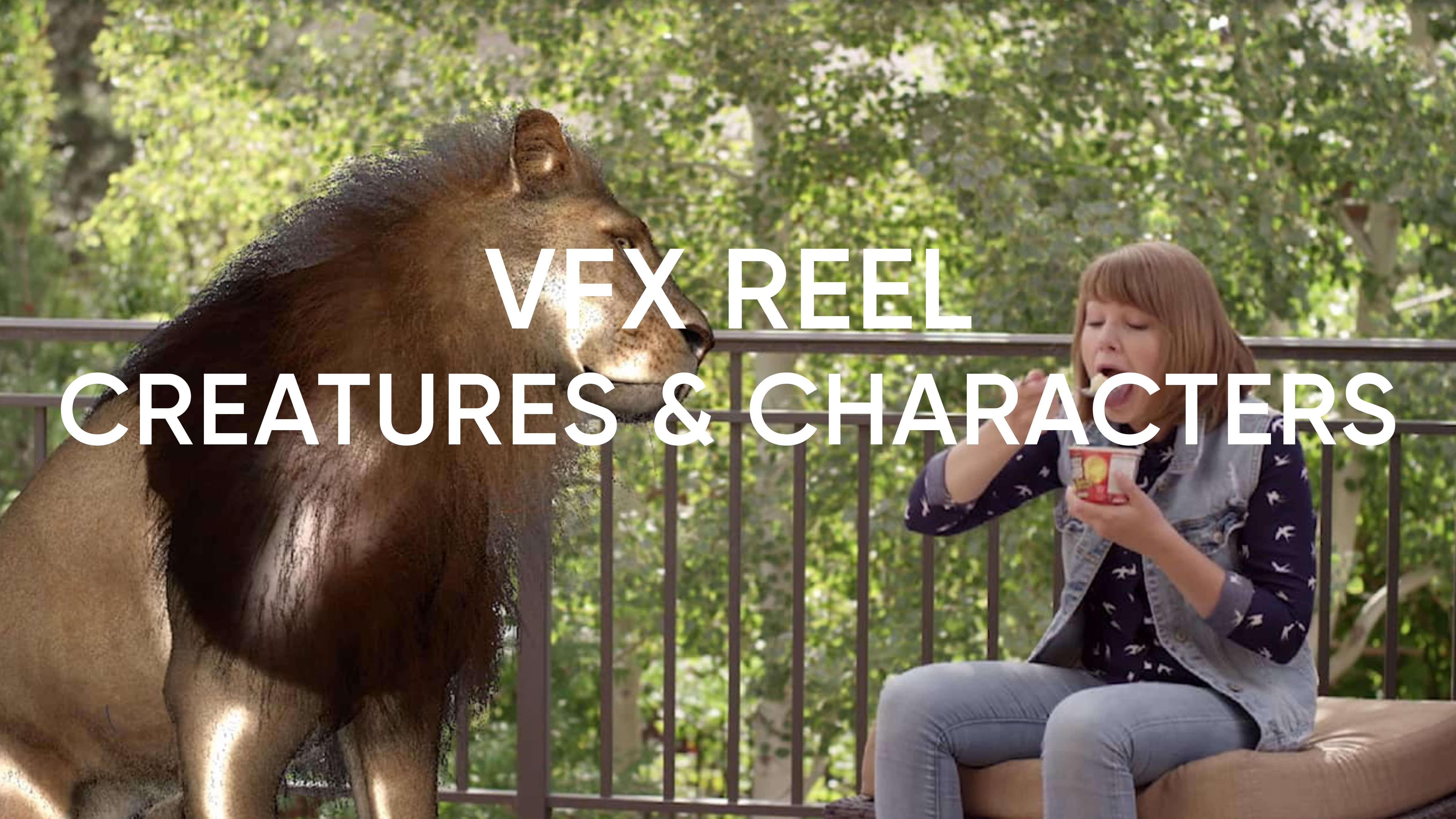This reel displays the different creatures and characters CosmicVFX is able to complete, including a lion and alien.