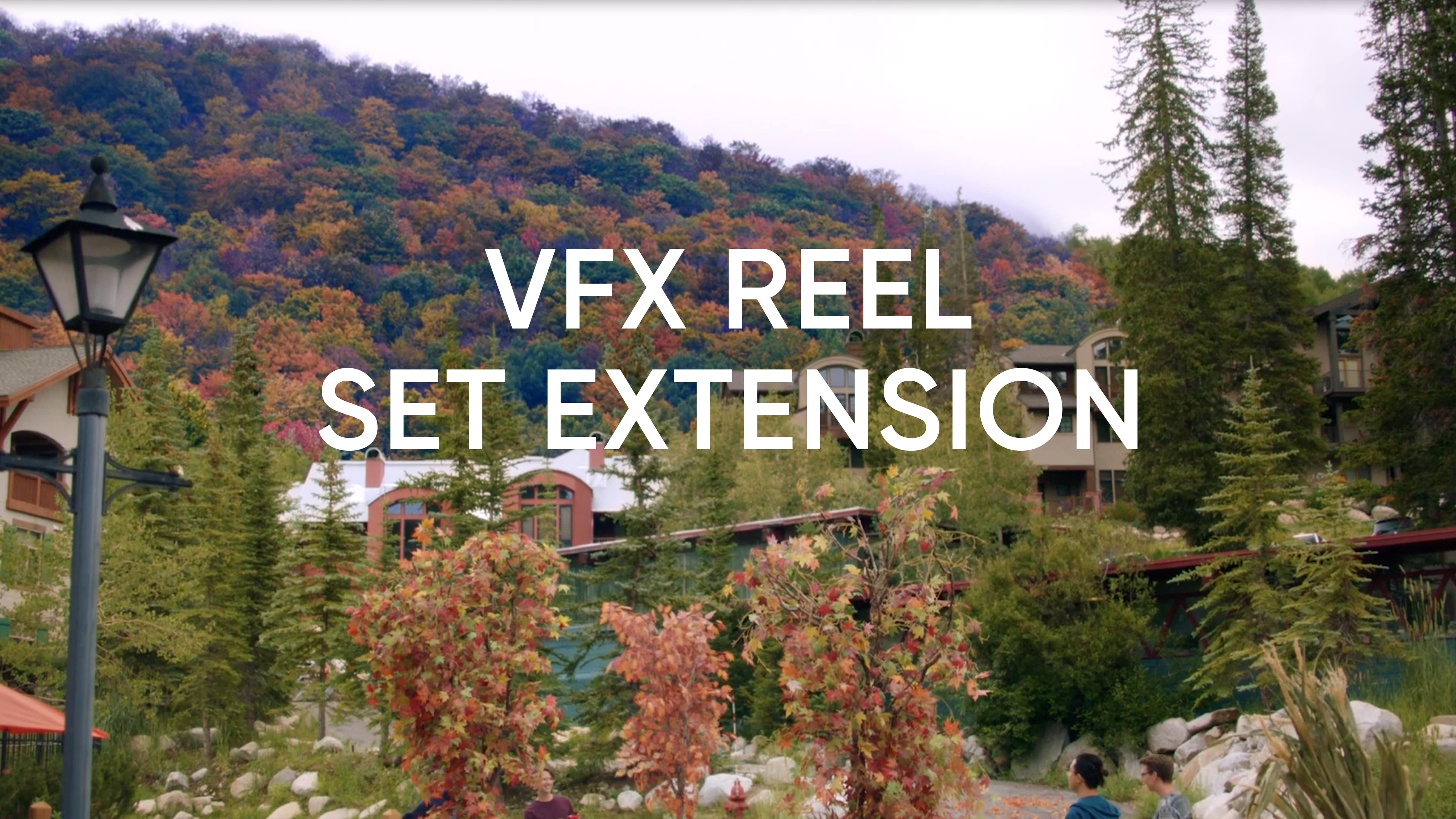 A set of different examples of how cosmic VFX makes summer in Utah look like fall by adding pumpkins, fall colored leaves, and more.