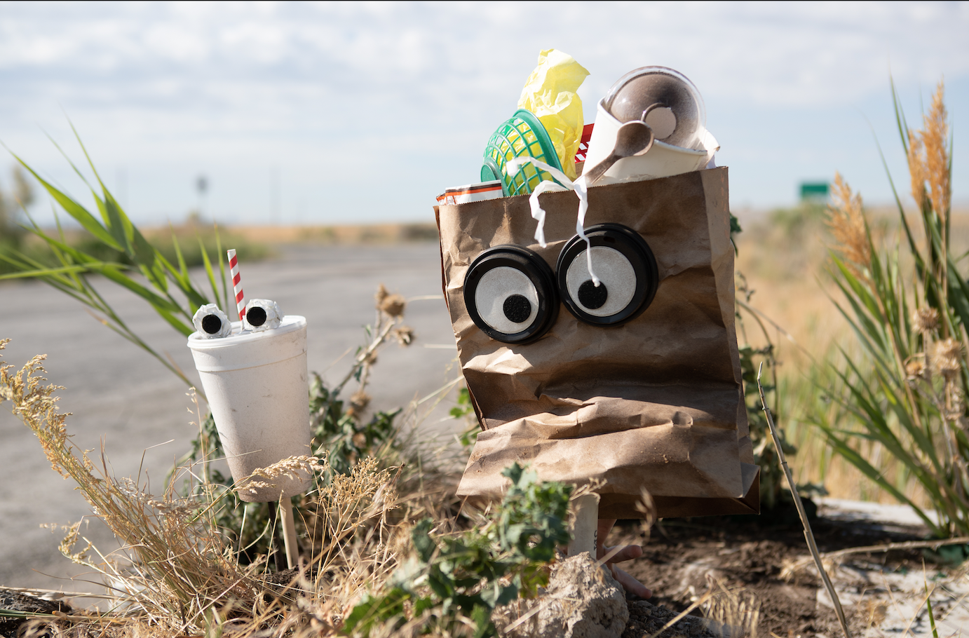 A paper bag and cup puppet on the side of the road.
