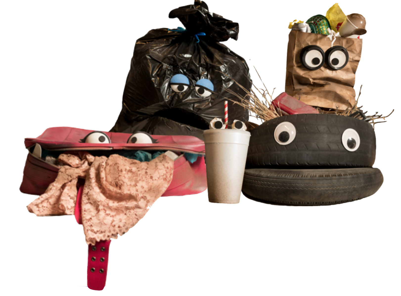 Five puppets: a trash bag, a paper bag, a suitcase, a cup, and a tire.