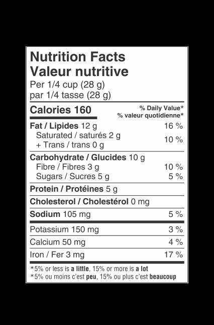 Valeur nutritionnelle du Mélange de noix Gourmet Sélection