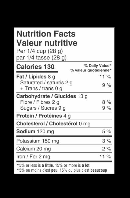 Valeur nutritionnelle du Mélange de randonnée premium So Smart®