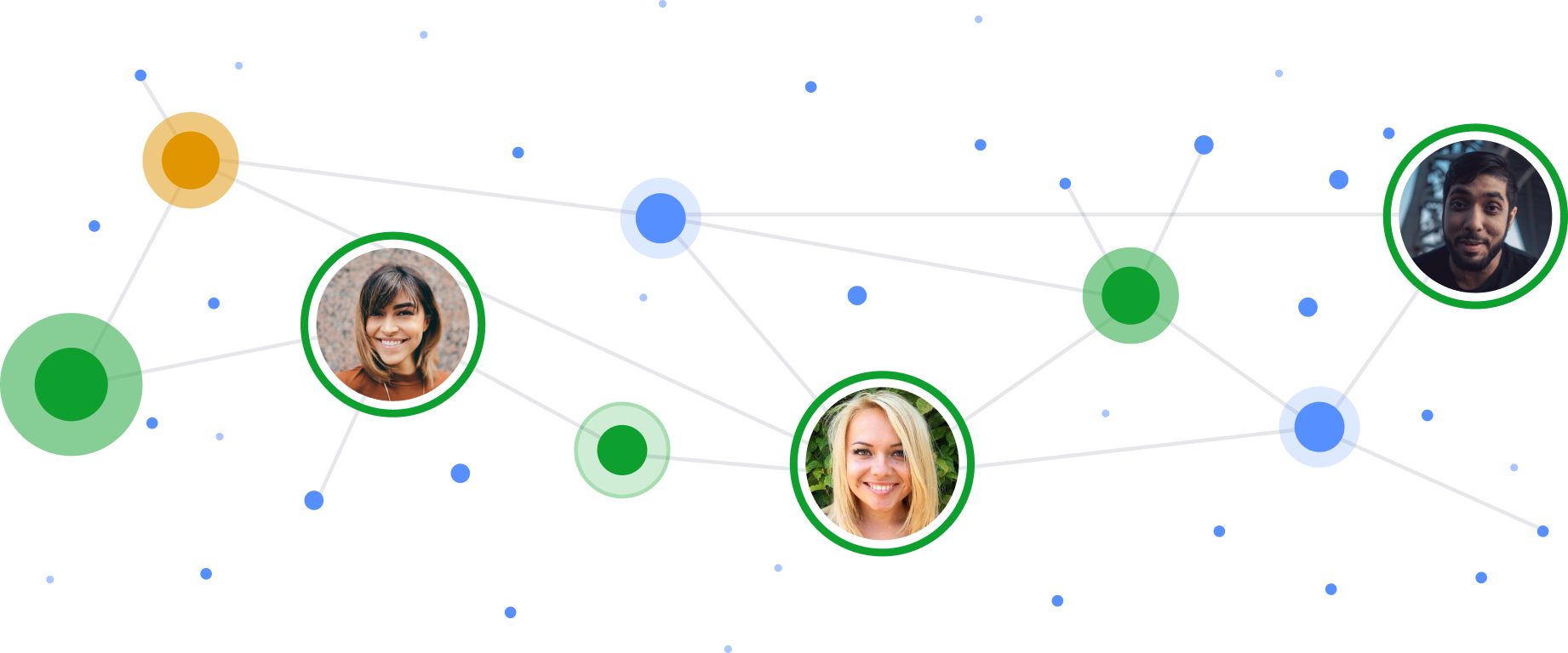 Images of individuals as nodes connected by lines in a stylized network