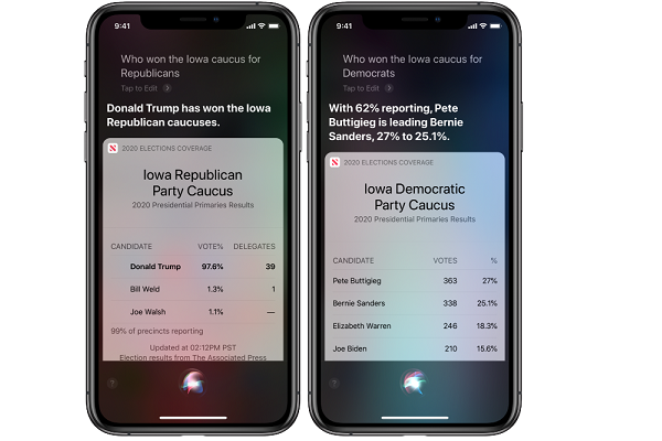 Apple Siri Election Updates