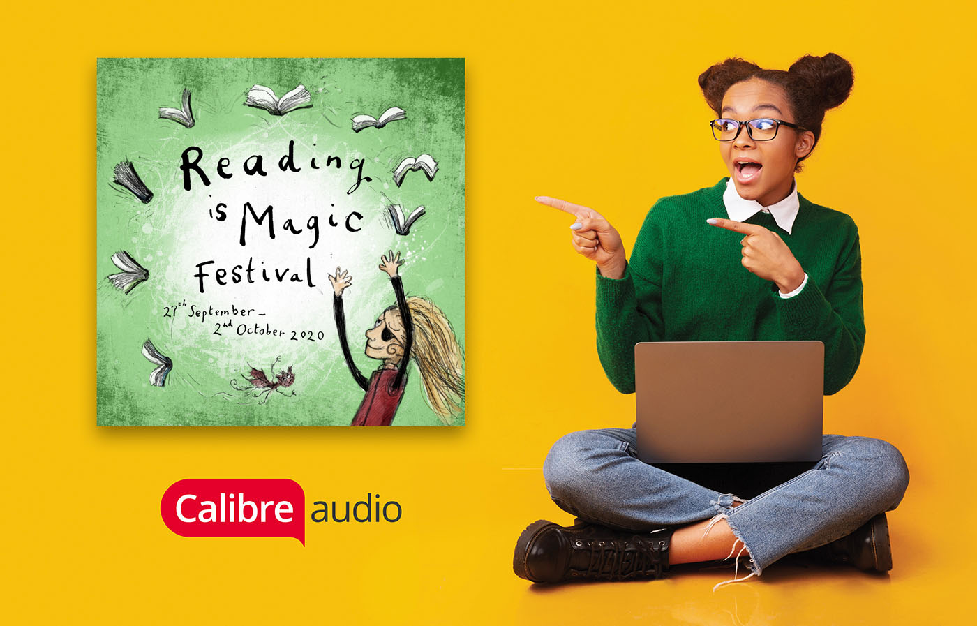 Image showing girl pointing at Reading is Magic Festival sign
