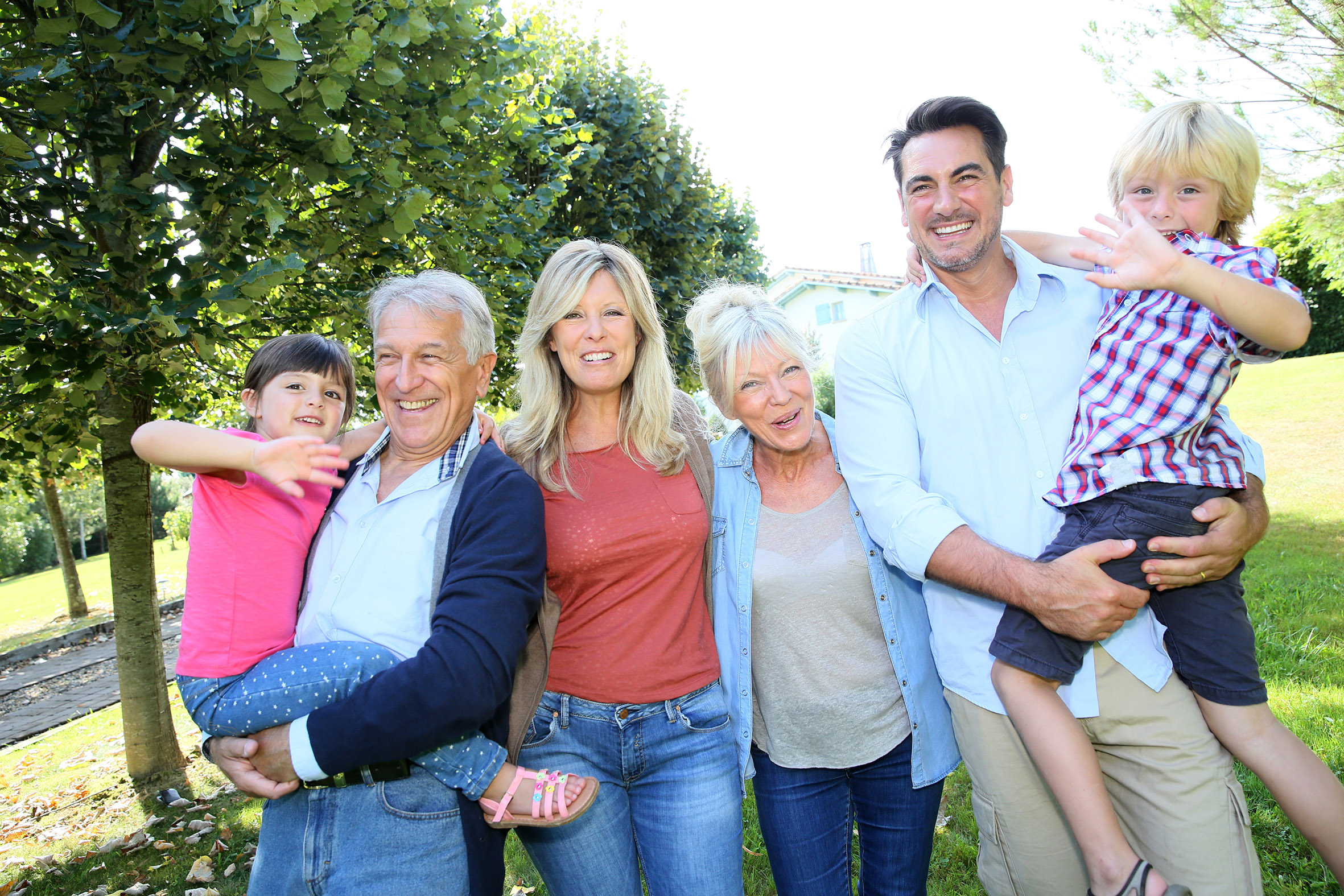 A three-generation family.