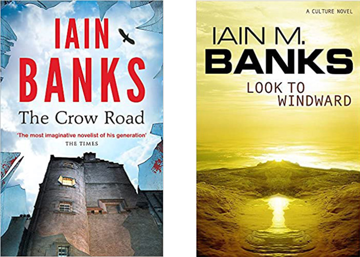 Images shows covers of books by Iain Banks