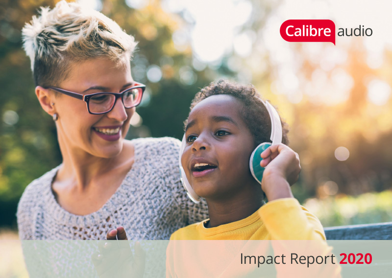 Image of the front cover pf the Impact Report with a woman smiling with a young boy listening to an audiobook