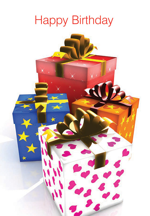 Four beautifully wrapped presents under the words Happy Birthday
