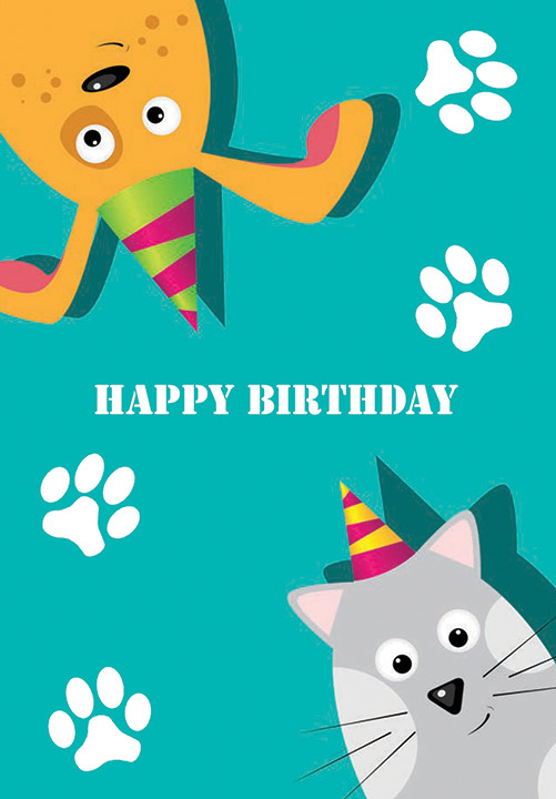 A cartoon cat and dog, wearing party hats with paw prints around the words Happy Birthday