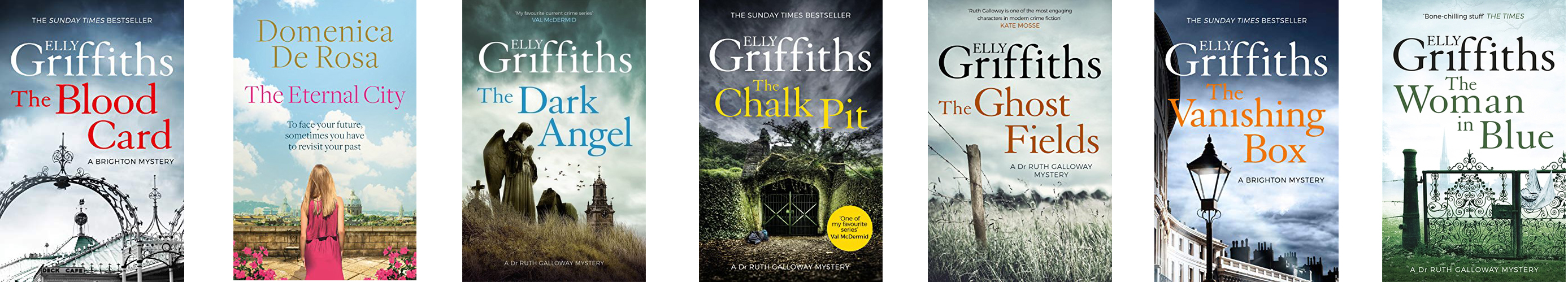 Covers of books by Elly Griffiths