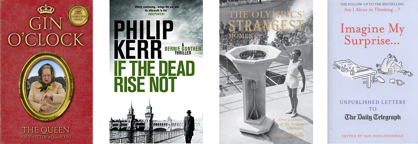 Images show books covers of books on the Olympics
