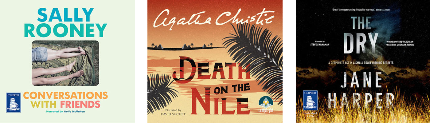 Image shows book covers: Death on the Nile, Conversations with Friends, The Dry
