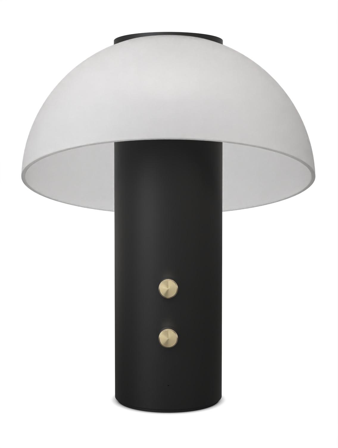 Piccolo  Luminaire Acoustique Lampe Enceinte Jaune Fabrique Noir Or