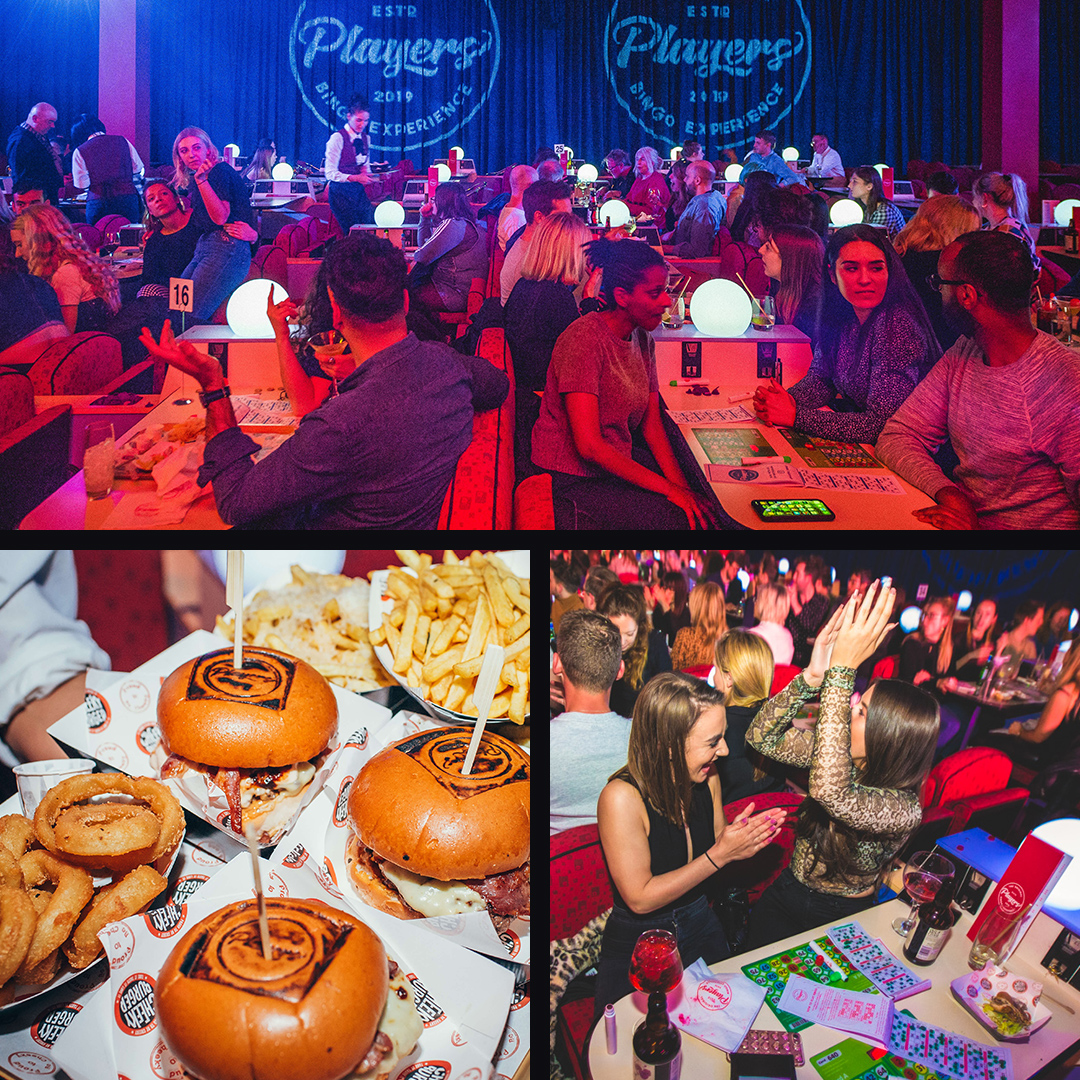 Crowd enjoying the Players Bingo experience. Burgers and fries served to guests.