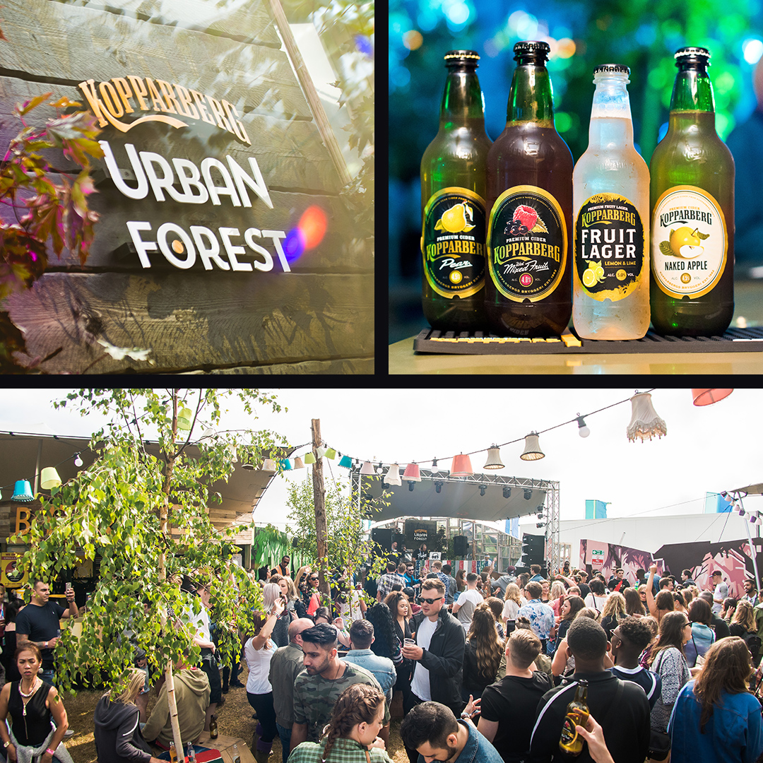 The urban forest experience. Kopparberg ciders in a row.