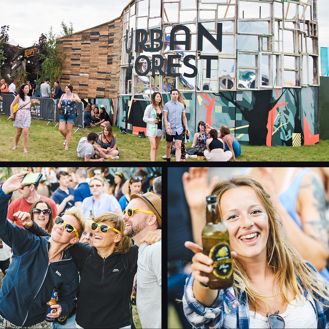 The Kopparberg urban forest structure. Festival goers posing for pictures at the experience.