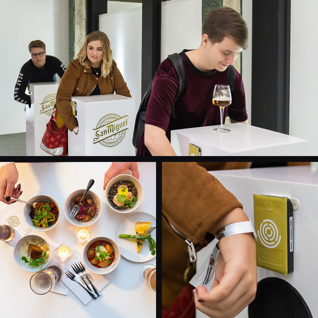Participants using RFID wrist bands and eating food at the rich list.
