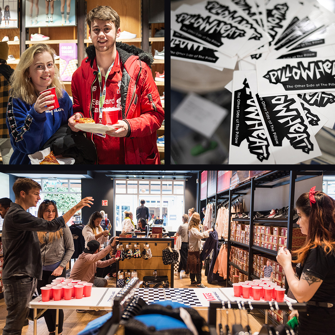 Vans Pillowheat stickers. Guests playing beer pong at store activation.