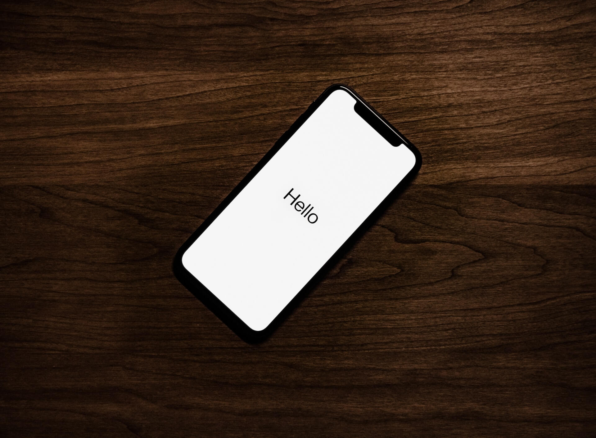 Mobile device with the words Hello on display