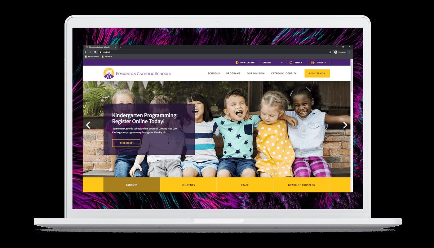 ECSD homepage on laptop