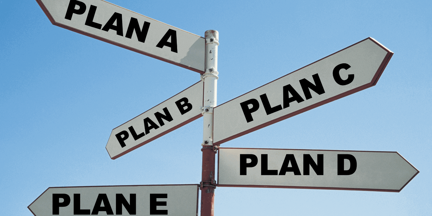 Signpost with Plan A, Plan B, Plan C on different signs
