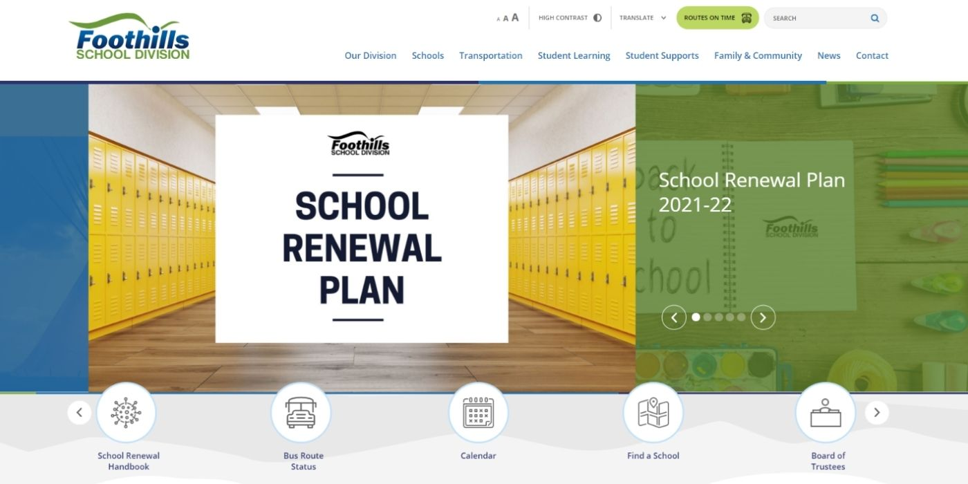 Foothills Homepage with School Renewal Plan