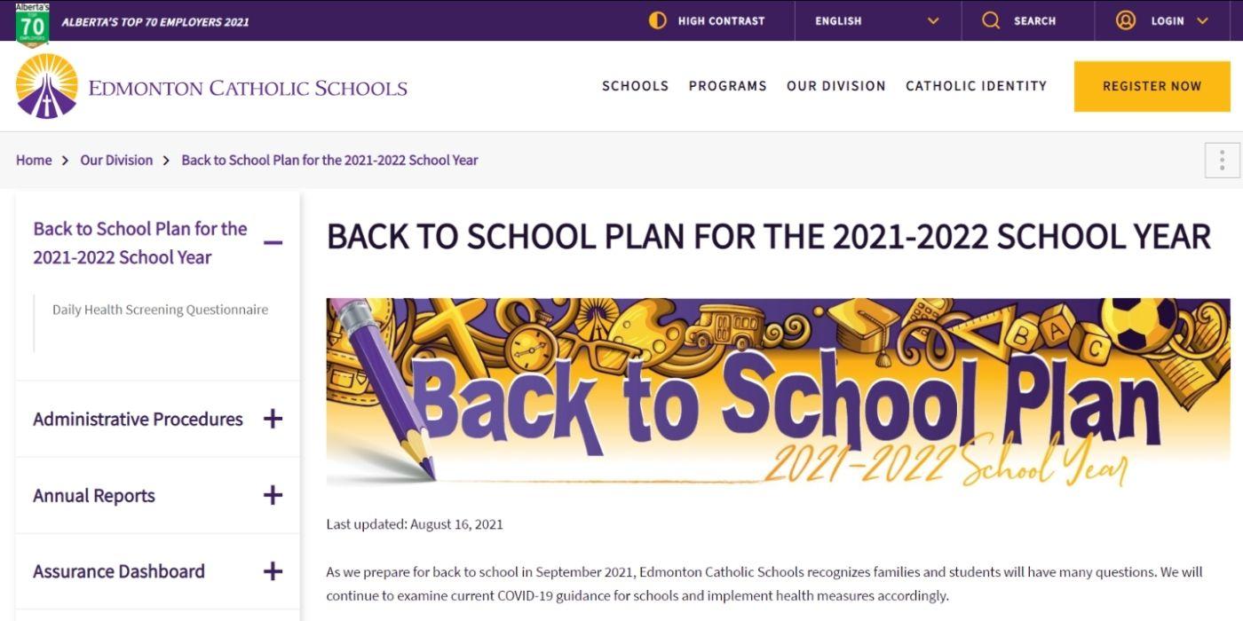 Edmonton Catholic Back to School webpage