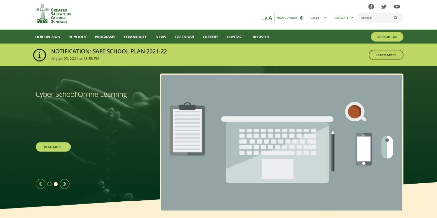 Greater Saskatoon homepage with Safe School Plan notification at the top