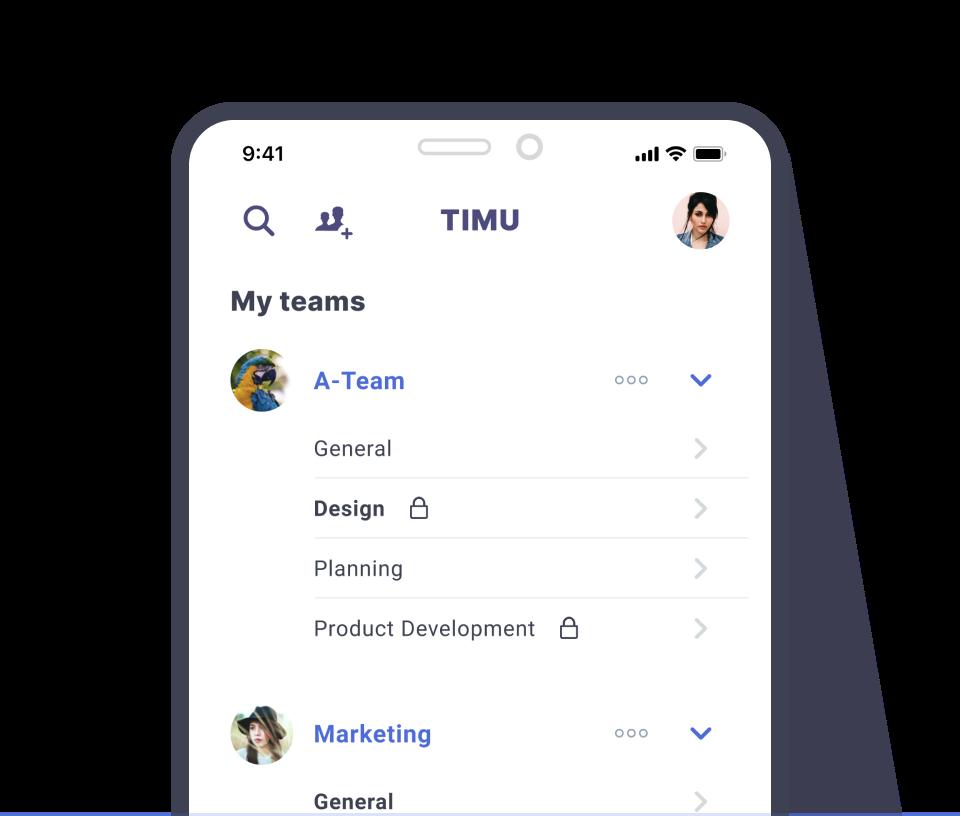 TIMU Mobile Teams & Workspaces